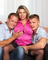 Big breasted Flavia does a hot threesome