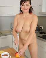 In the kitchen 45 year old Justina from AllOver30