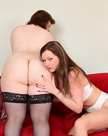 Slender milf and chubby milf have some spicy fun